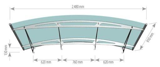 sc 1 st  Fascias.com & 2480 x 910 Pro Curved Door Canopy