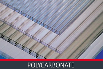 Various colour tints and thick polycarbonate sheets stacked