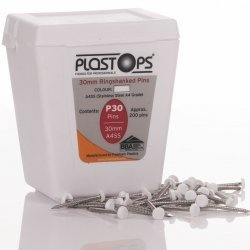 White 30mm Plastic Head Top Pins - 200 Pieces