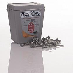 Light Grey 30mm Plastic Head Top Pins - 250 Pieces