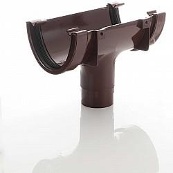 Brown Deep Flow  Guttering Running Outlet - 115mm