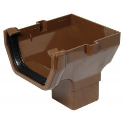 114mm Brown Square Gutter Stop End Outlet