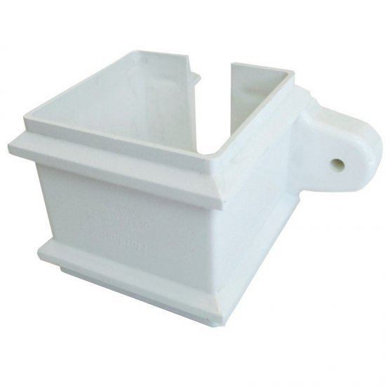 65mm White Square Classic Downpipe Clip - with Lugs (RCS4W)