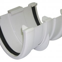 White 115mm Deep Flow Gutter Union/Joint