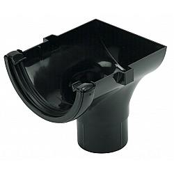 112mm Black Half Round Gutter Stop End Outlet