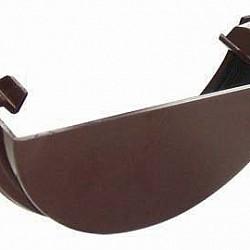 112mm Brown Half Round Gutter External Stop End