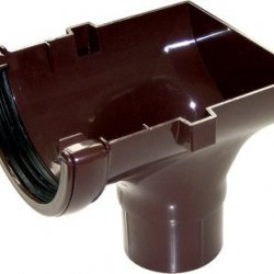 112mm Brown Half Round Gutter Stop-End Outlet