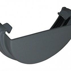 112mm Grey Half Round Gutter External Stop End