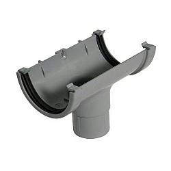 Running Outlet -  76mm Miniflo Gutter - Grey