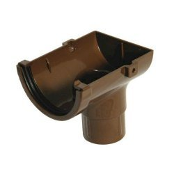 Stopend Outlet - 76mm Miniflo Gutter - Brown