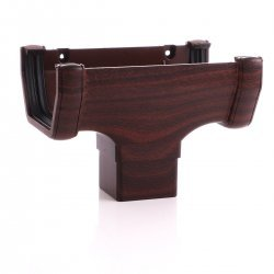 Mahogany Square Gutter Running Outlet - 65mm Square