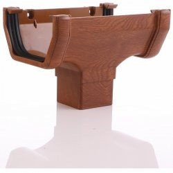 Golden Light Oak Square Gutter Running Outlet - 65mm Square