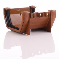 Golden Light Oak Square Gutter Union Bracket