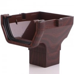 Mahogany Square Gutter Stopend Outlet - 65mm Square