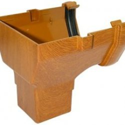 Golden Light Oak Square Gutter Stopend Outlet - 65mm Square