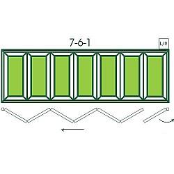 UPVC Double Glazed Made to measure Bi-fold 7 Pane Folding Door with 1 Fixed Door