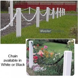 Plastic 600mm White Post and 1M White Chain Garden Fence Pack