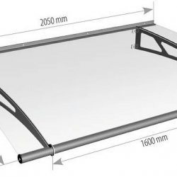 2050mm x 1420mm Commercial Door Canopy - Steel Frame - Frosted Blue Acrylic