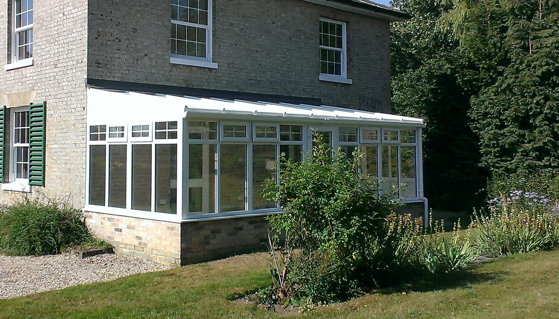 Conservatory lean-to roof for glass or polycarbonate.