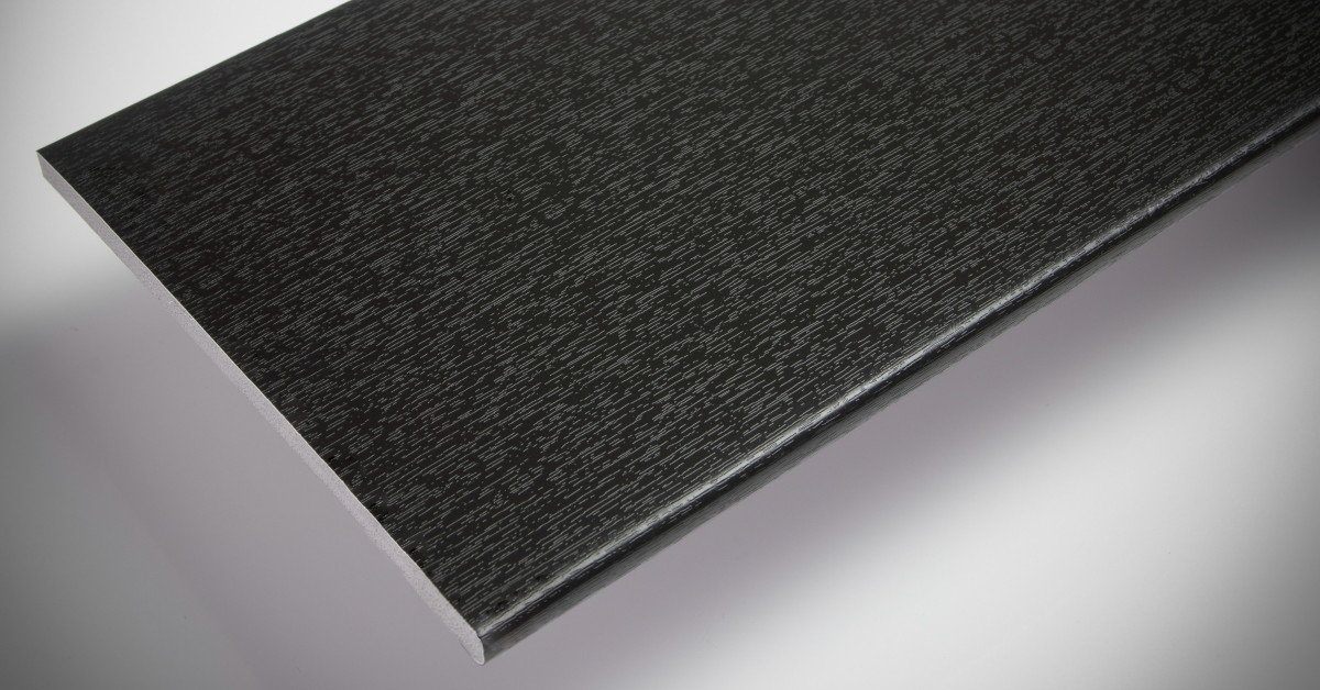 Grained effect soffit boards in black 10mm thick