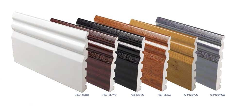 Plastic skirting boards gloss finish in UPVC for finishing floors