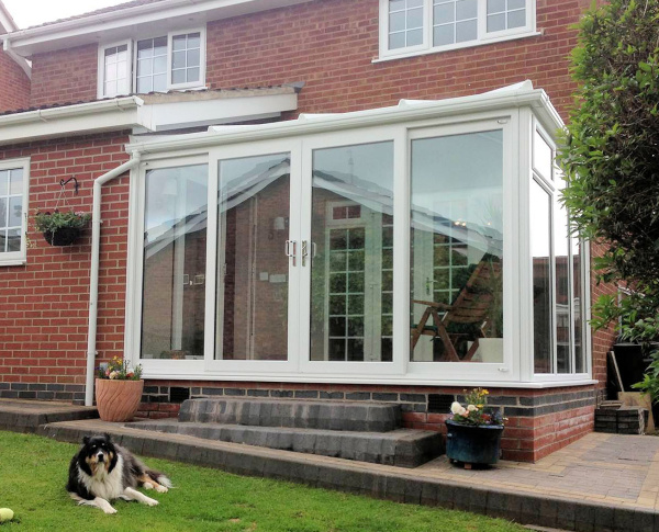 Lean-To Full Height Glass Conservatory View from Outside