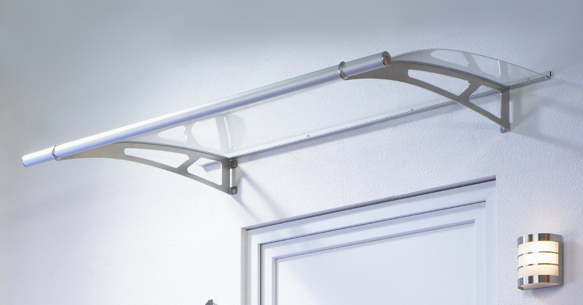 Glass Clear Curved 1.5m door canopy