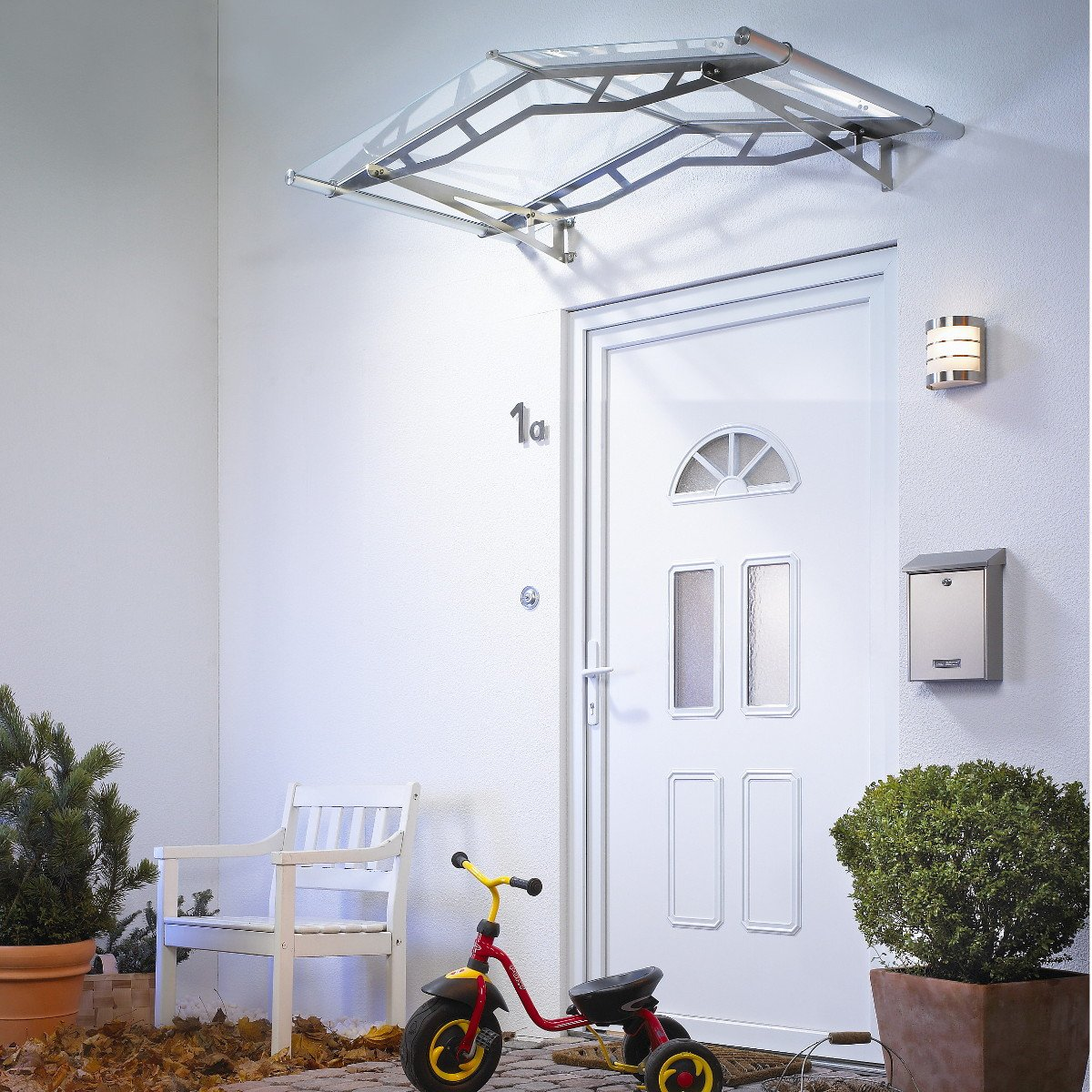 Glass Like Pitched Door Canopy