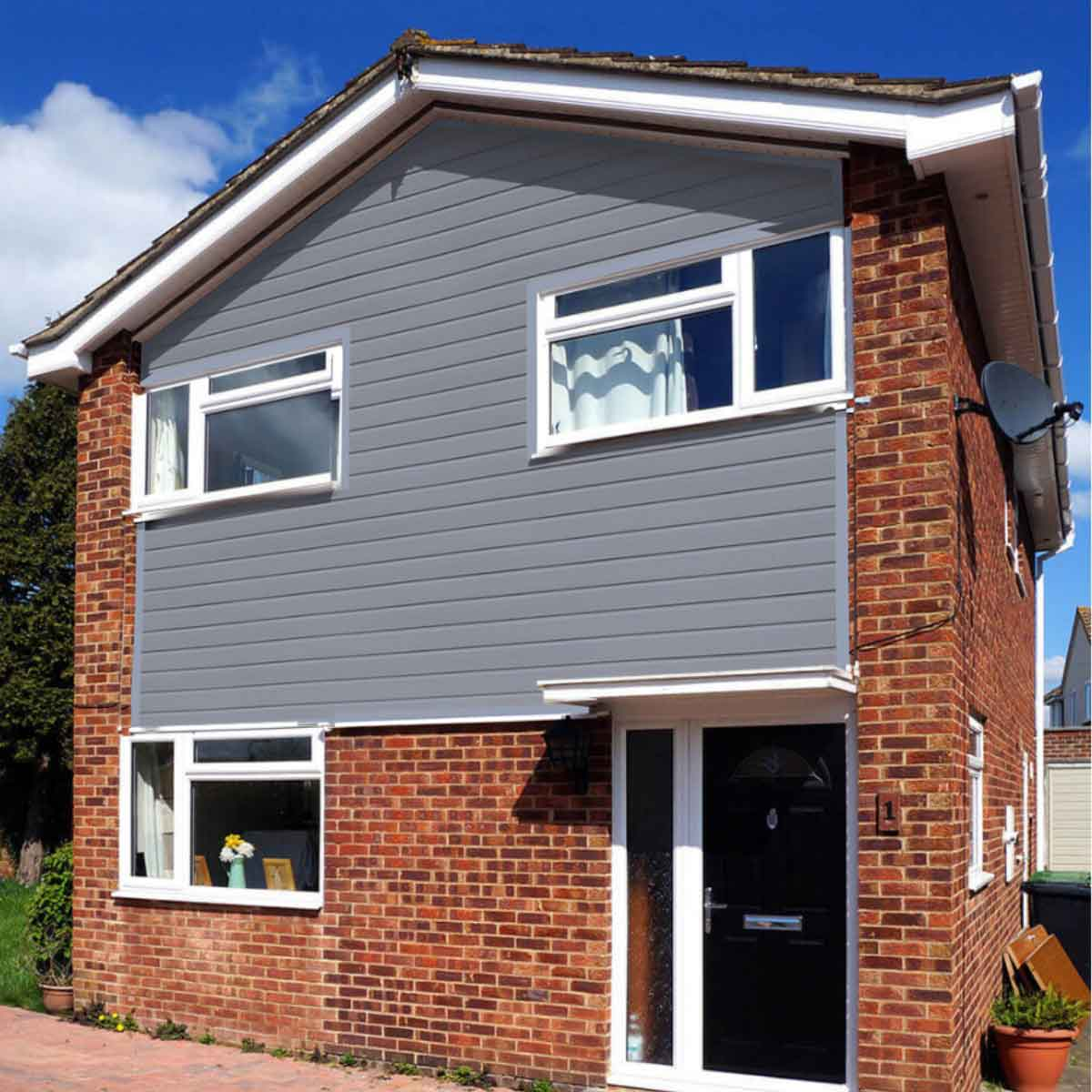 Blue cladding that goes well with white PVC windows