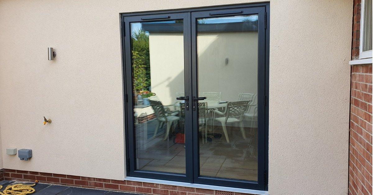 Anthracite double glazed grey french doors PVC
