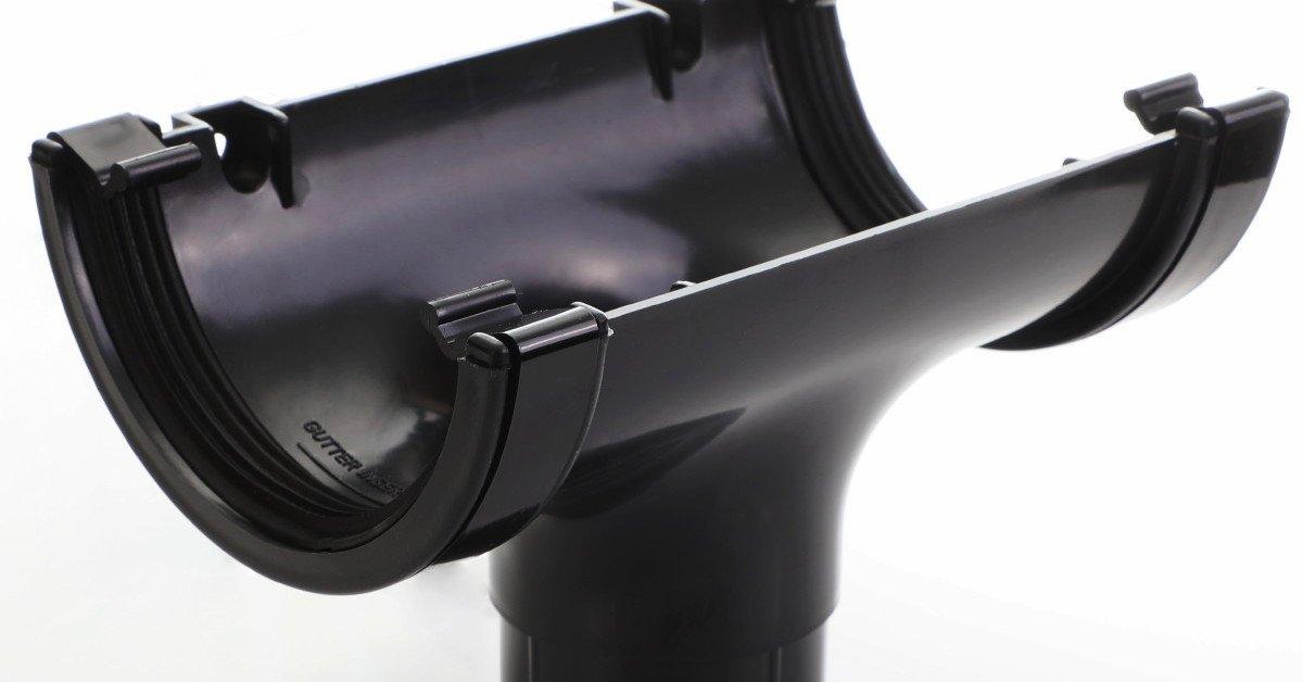 Black round guttering 112mm standard half round gutter