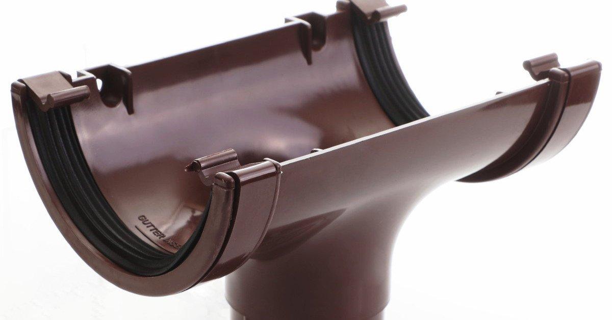 Brown round guttering 112mm standard half round gutter