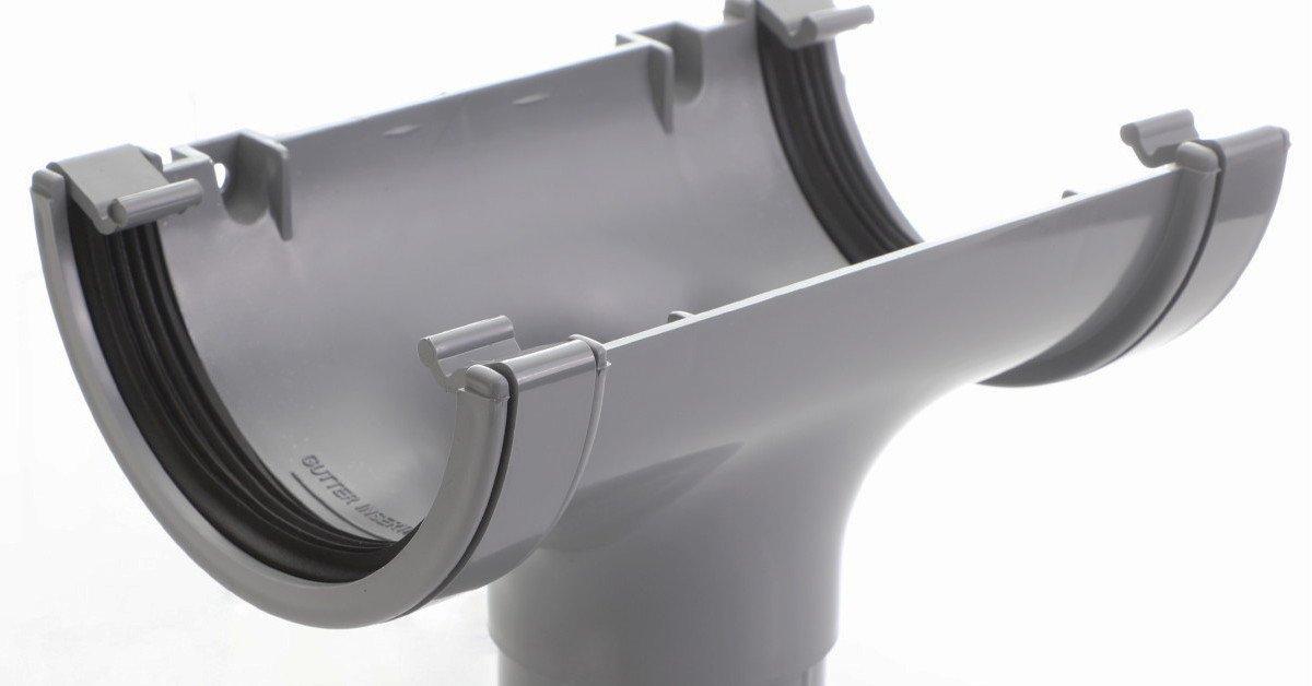 Grey round guttering original light grey 112mm standard half round