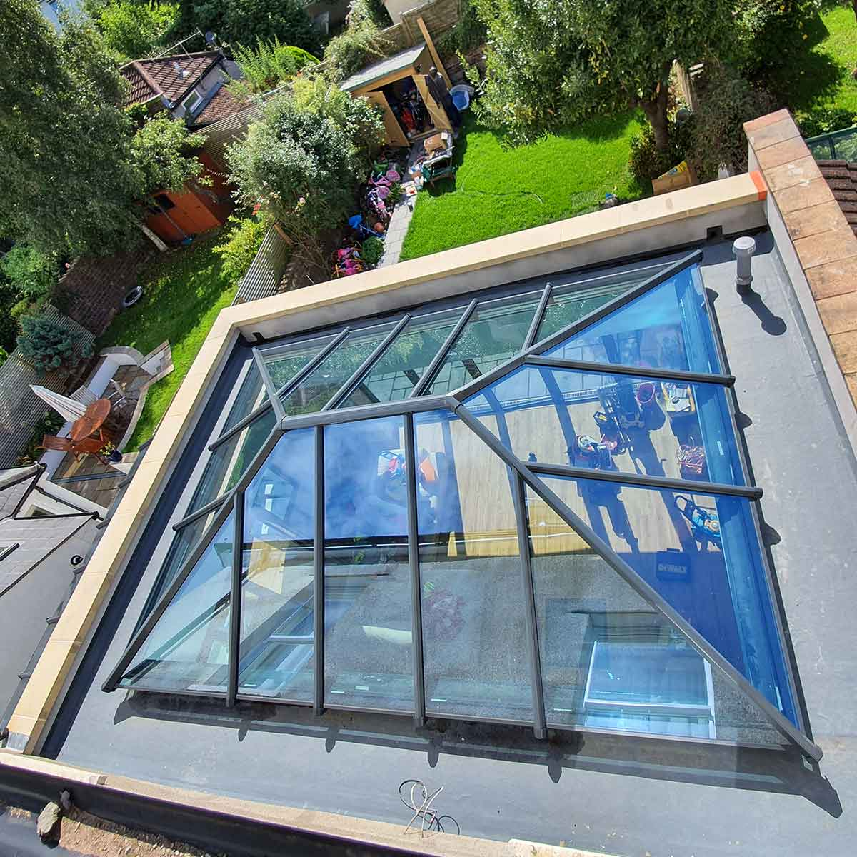 UltraSky grey on grey aluminium roof lantern orangery glass roof