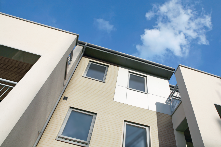 Ivory exterior cladding boards from the Durasid Elegance range.
