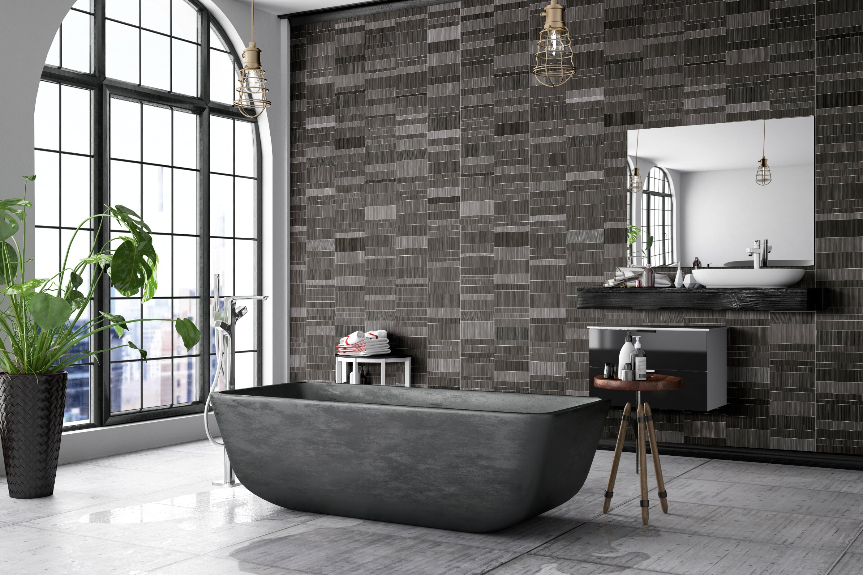 Tile effect bathroom wall tiles. Water proof wall covering.