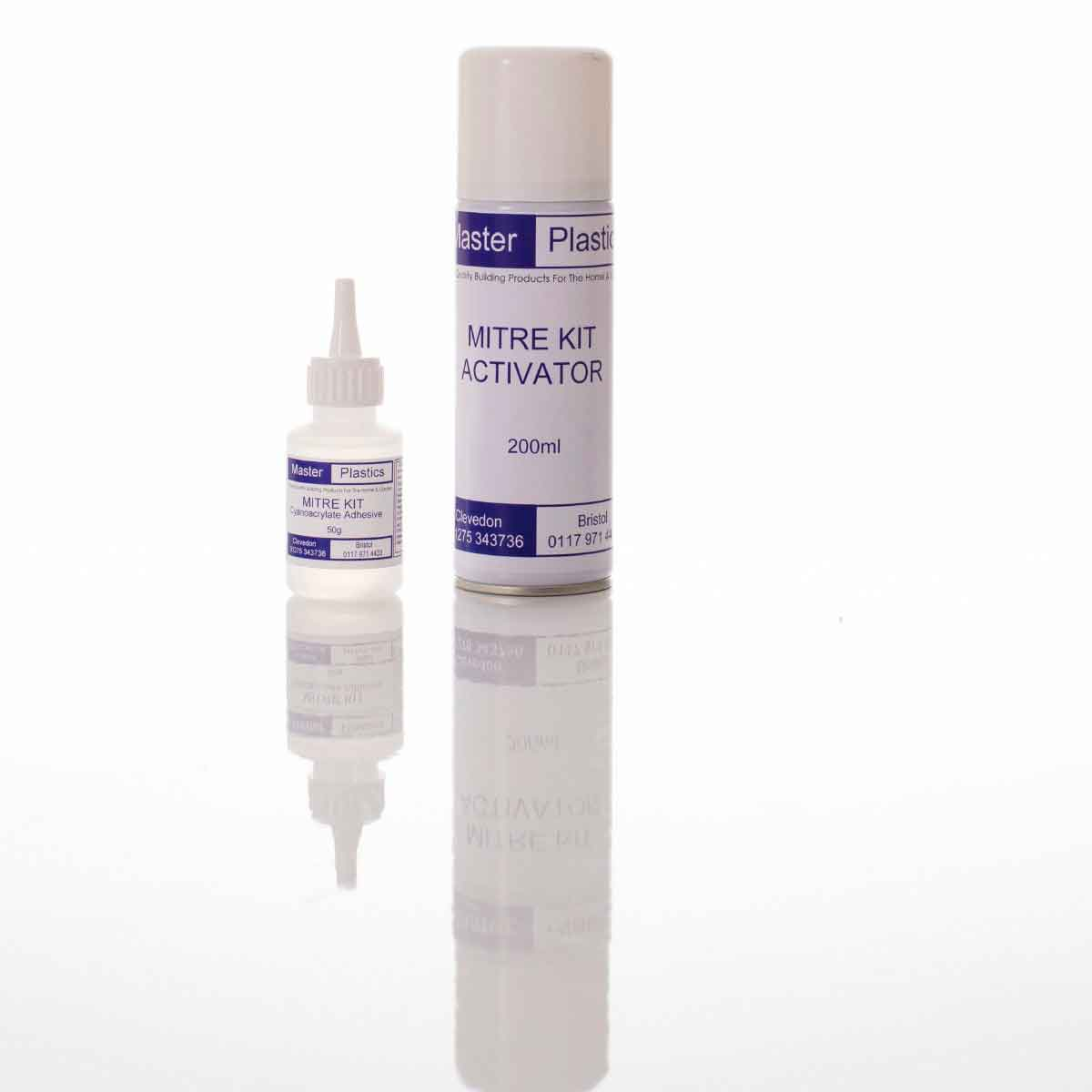 Super glue and activator formulated for use with PVC
